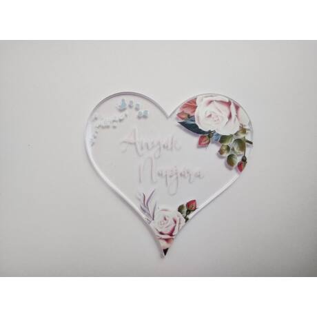 Anyák napi üdvözlő plexi tábla szív formában virágdoboz készítéséhez