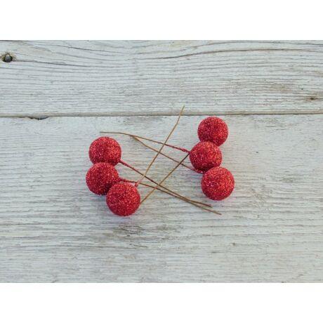 Csillámos mini gömb piros színben