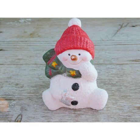 Karácsonyi hóember figura piros sapkában