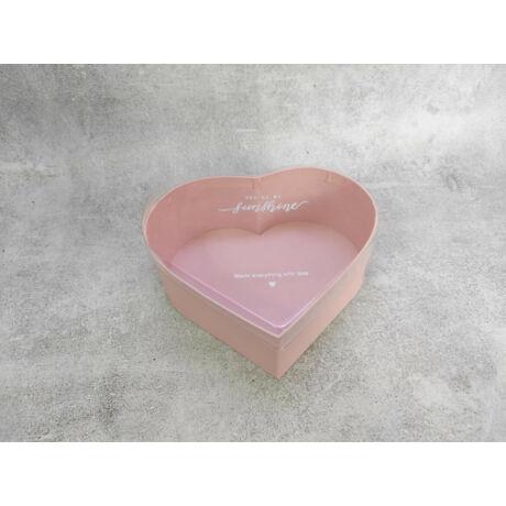 Virágbox doboz készítéséhez púderrózsaszín szív forma