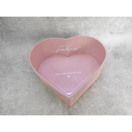 Virágbox doboz készítéséhez púderrózsaszín árnyalatú szív forma