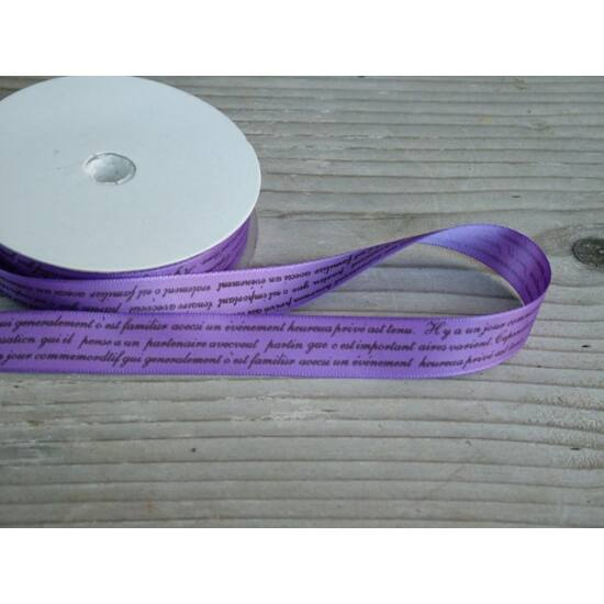 Dekorációs ötletekhez feliratos lila szalag