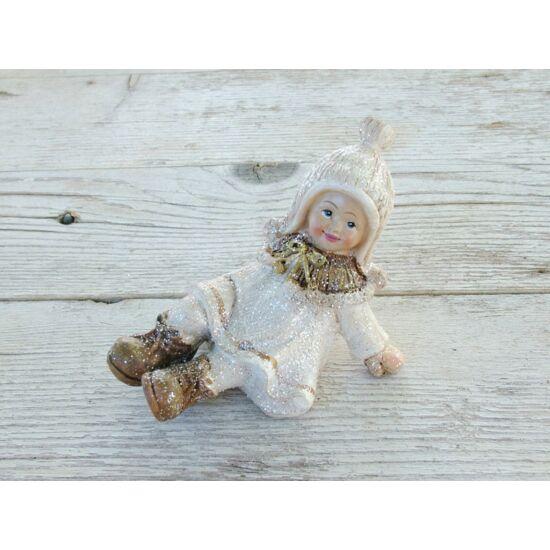 Karácsonyi lányka figura krém-barna