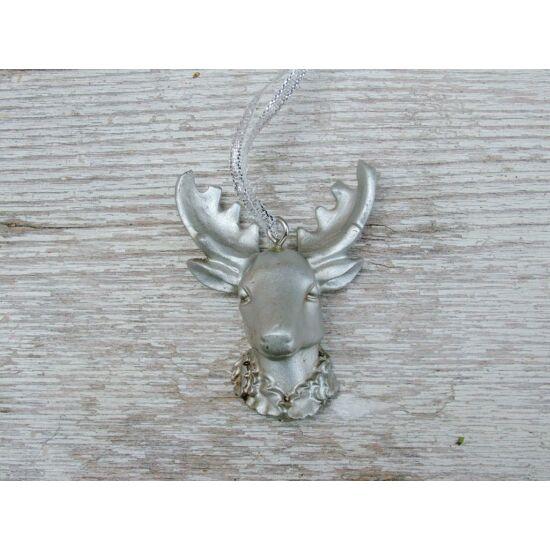 Karácsonyi figura ezüst szarvasfej