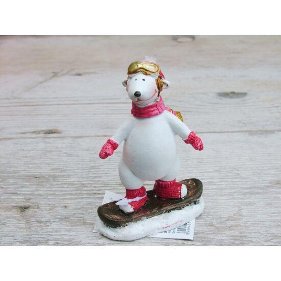 Karácsonyi dekoráció jegesmedve hódeszkás