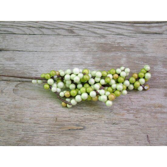 Dekorációs kellék zöld bogyós pick
