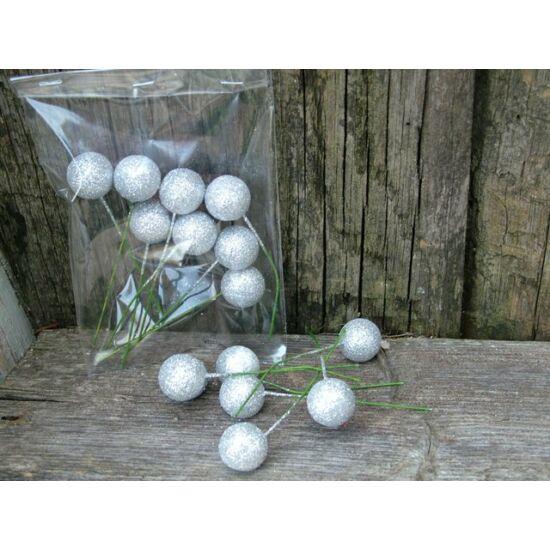 Ezüst csillámos betűző bogyók